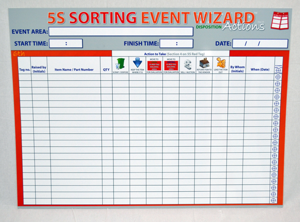 5S Sort Event Wizard Board
