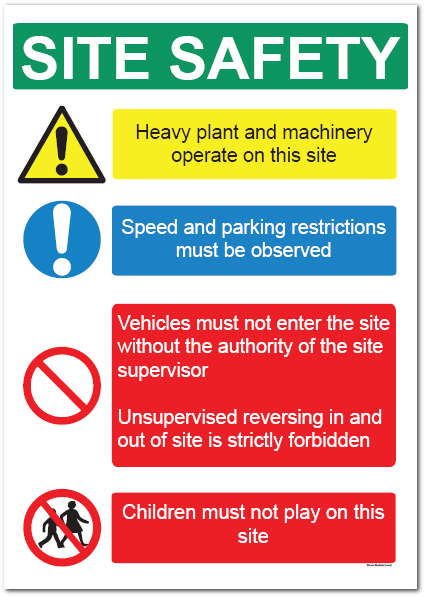 Safety Signs And Banners In Construction Heavy Plant